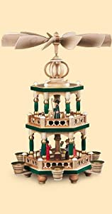 German christmas pyramid Christmas story, 2-tier, height 42 cm / 17 inch, hand-painted, original Erzgebirge by Mueller Seiffen from Müller Seiffen