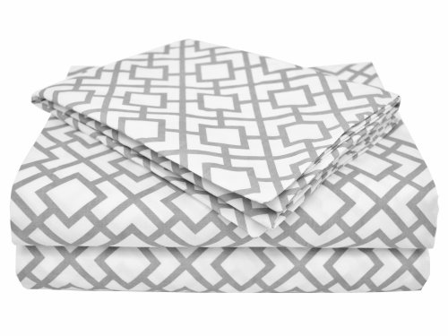 American Baby Company 100% Cotton Percale Toddler Bedding Sheet Set, Gray Lattice, 3 Piece
