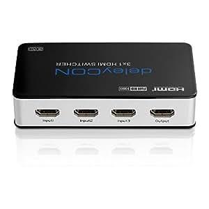 deleyCON ULTRA Serie HDMI Switch Verteiler 3 Port Automatisch - 3D Ready / FULL HD 1080p - Metallgehäuse - [3x IN / 1x OUT]
