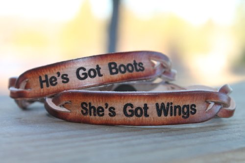 She'S Got Wings And He'S Got Boots Braided Leather Bracelet Set For Two front-679028