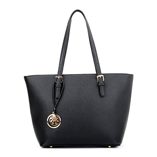 Black Leather Style Tote Bag With Gold Toned