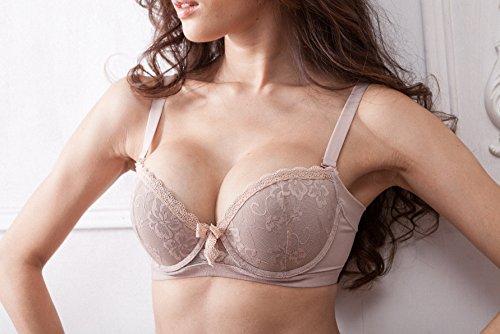 Nasse Women's Seductive Lace Full Coverage Memory Foam Push Up Underwire Bra (34B, Skin)