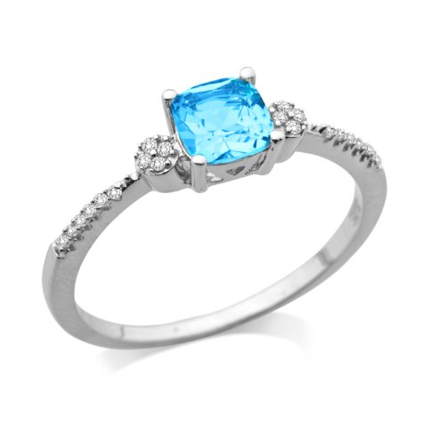 Miore 9ct White Gold Blue Topaz and Diamond Shoulder Set Engagement Ring MSJ906R