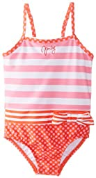 Juicy Couture Baby Baby Girls\' Striped Swim Suit, Prism Pink, 18 24 Months