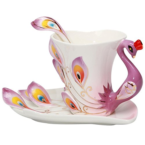 SMKF Collectable Fine Arts China Porcelain Coffee Mug and Saucer Coffee Cup Peacock Theme Romantic Creative Present (Purple) (Elegant Coffee Cups compare prices)
