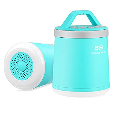 WOWTOU Rechargeable Outdoor Portable Wireless Bluetooth Speakers with 3W LED Camping Lantern Lights / 5W Speaker / Selfie Button / Hands Free Speakerphone, IPX4 (Sky-blue) from WOWTOU