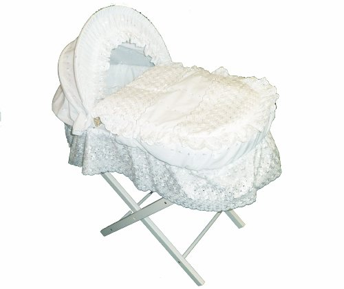 Beautiful White Broderie Anglaise Moses Basket With Long Skirt, Matching Pillow & White Wooden Folding Stand