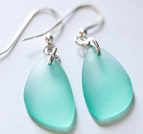 Sea Foam, Mint Sea Glass Earrings, Sterling Silver Earrings, Aqua Earrings, Christmas gift for her, Dangle Earrings, Sea foam Jewelry, Mint Jewelry