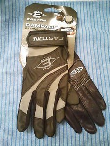 Buy Easton Rampage Youth Large Batting Pair Gloves Black Grey 1004807 by Easton