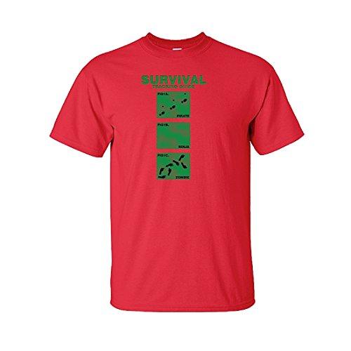 IamTee Survival Tracking Guide. Pirate, Ninja, Zombie Tshirt-Red-XL