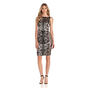 London Times Women's Illusion Neckline Printed Sheath Dress, Champagne, 16