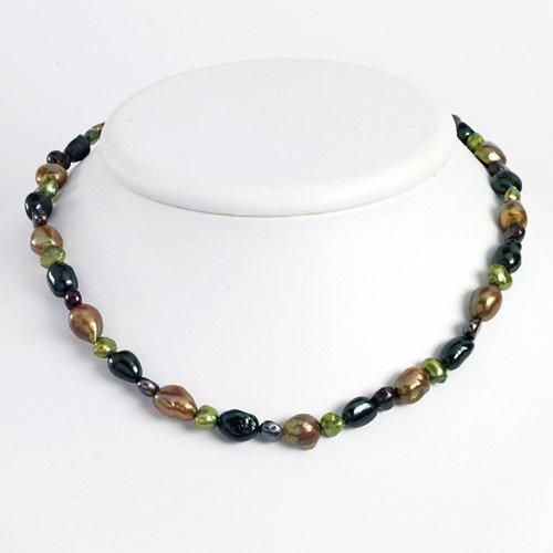 Sterling Silver Dk Green/Dk Purple/Green/Olivine Cultured Pearl Necklace
