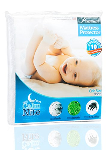 Crib Mattress Pad Protector - Vinyl Free, Hypoallergenic & Waterproof Toddler Bed Cover - Terry Cotton Bassinet Topper - By CalmniteTM (Heated Mattress Pad Not Fitted compare prices)