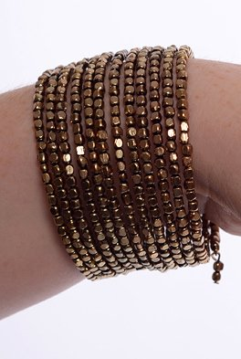 Golden Brown/Bronze Beads Fashion Spiral Bracelet/Wristband/Bangle