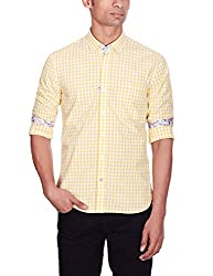 Punctuate Men's Casual Shirt (0666995111185_PNS161275_xx-large_Yellow)
