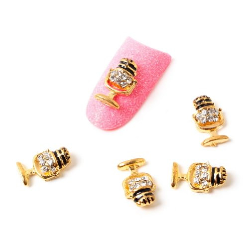 So Beauty 10Pcs Microphone Alloy 3D Rhinestone Nail Art Tips Slice Decoration-1