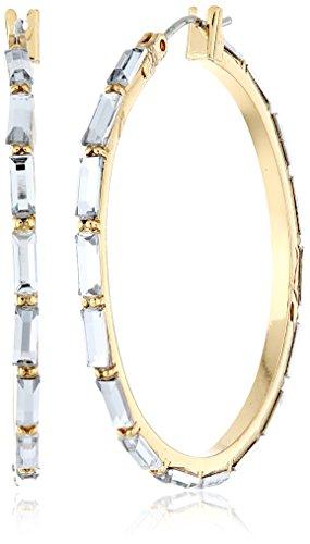 "Betsey Johnson ""Iconic Baguette"" Crystal Baguette Hoop Earrings front-958856"