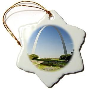 3dRose orn_91512_1 Gateway Arch, St. Louis, Mississippi River, MO-US26 DFR0041-David R. Frazier-Snowflake Ornament, Porcelain, 3-Inch