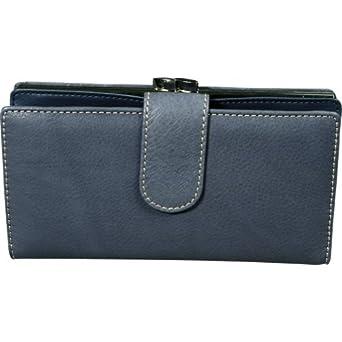 Mundi Women's Rio Tab Clutch Genuine Leather Checkbook Bifold Wallet (Navy Blue)