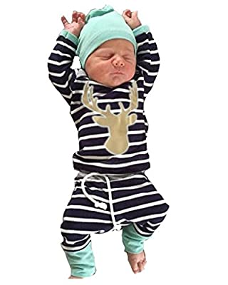 3pcs/Set Newborn Baby Boys Girls Striped Long Sleeve Deer Tops Pants Hat Outfits by Aliven that we recomend individually.