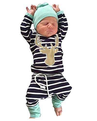 3pcsSet-Newborn-Baby-Boys-Girls-Striped-Long-Sleeve-Deer-Tops-Pants-Hat-Outfits