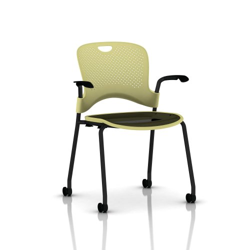 Stackable Caper Side Chair by Herman Miller - Black Frame - Black FlexNet Seat - Carpet Casters - Citron