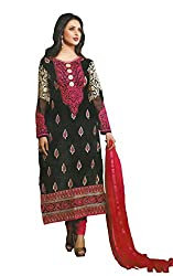 Namrah Collection Women's Georgette Embroidered (7104, Black)