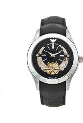 Emporio Armani Men's AR4640 Meccanico Black Leather Band Watch