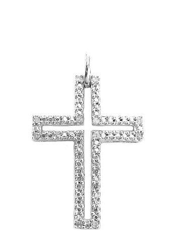 Sterling Silver Diamond Cross Charm Pendant 0.03ct