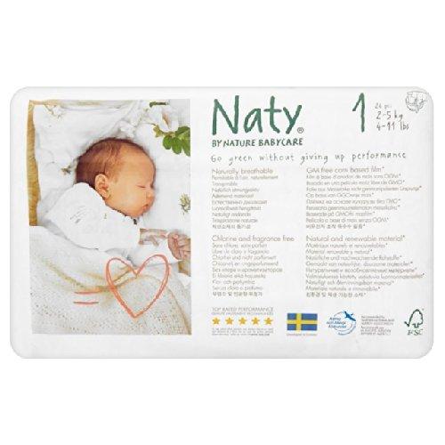 Naty par Nature Babycare Taille 1 nouveau-né Couches 2-5kg 26 par paquet