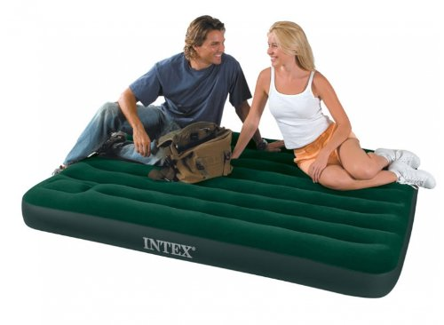 Intex Double Flocked Inflatable Guest Airbed Camping Air Bed Mattress Built In Pump
