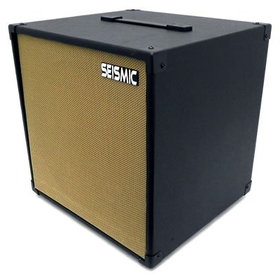 "Seismic Audio - 12"" Guitar Speaker Cabinet Empty - 7 Ply Birch - 1X12 Cube Cab - Black Tolex, Wheat Removable Cloth Grill - Front Loading Speakerless Cabinet"