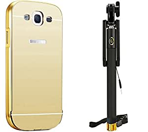 Novo Style Back Cover Case with Bumper Frame Case for Samsung Galaxy On5  Golden + Wired Selfie Stick No Battery Charging Premium Sturdy Design Best Pocket Sized Selfie Stick