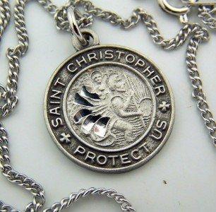 Womens Diamond Cut Pewter Saint Christopher Medal Pendant Necklace 18