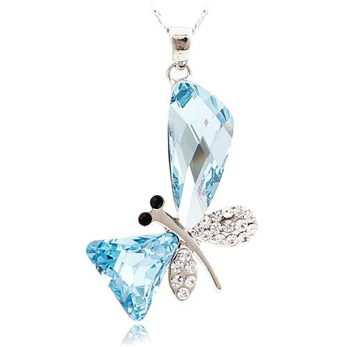 Stylized Aquamarine Butterfly Wing Drop Swarovski Elements Crystal Pendant Necklace Platinum Plating Chain