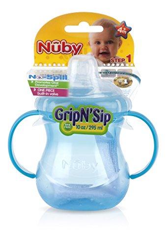 Nuby 9644 - Tazza con manici No-Spill da 295 ml, con morbido beccuccio in silicone con forma sagomata e antigoccia