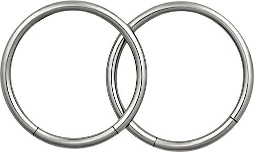 "Pair Of 2 Rings: 16G 12 Mm (1/2"" Inch) Easy Use 316L Surgical Steel Seamless Segment Hoop Rings"