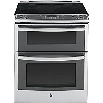 "GE PS950SFSS Profile 30"" Stainless Steel Electric Slide-In Smoothtop Double Oven Range - Convection"
