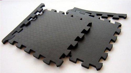 Foam Interlocking Floor Mats (Case Of 48), Black, Waterproof, Exercise, Gym, Basement, Garage, Puzzle Piece, Protective front-497411