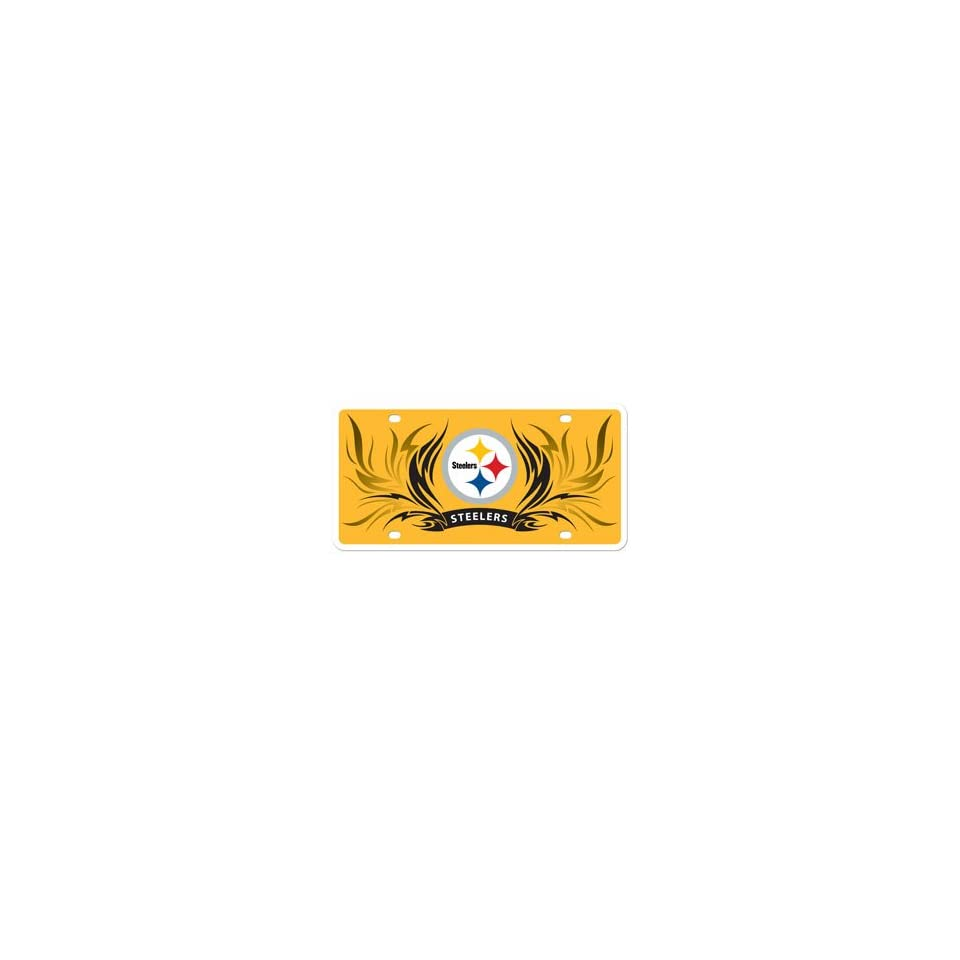 Pittsburgh Steelers Flame design Styrene License Plate. Officially