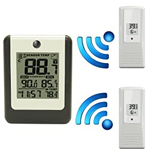 Ambient Weather WS-16-X2 Wireless 8-Channel Thermometer with Two Remotes