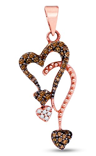 10K Rose Gold Channel Set Chocolate Brown & White Heart Diamond Pendant Charm (1/5 cttw.)