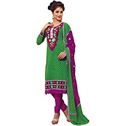 FadAttire Unstitched Dress Material made of Premium Georgette Material-Green-ACMP02
