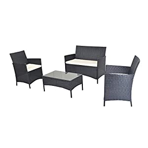 4pcs White Cushioned Compact Outdoor/Indoor Patio Garden Lawn Furniture PE Rattan Wicker Sofa Set Black from IDS