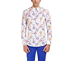 Color-Buckket Men's Casual Shirt_CB501_White_M