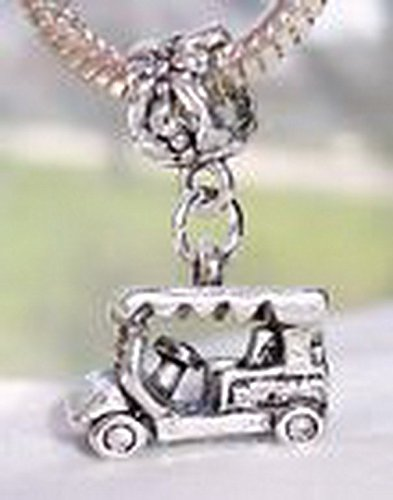Beads Hut - Golf Cart Golfer Car Sports Vehicle 3D Dangle Bead for European Charm Bracelets