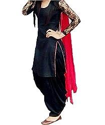 PURVA ART BLACK DRESS MATERIAL WITH RED DUPATTA