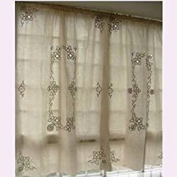 Vintage Battenburg/Cutwork off White Cotton Curtain Panel