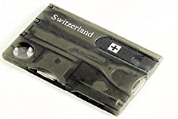 Swiss Card Black Swiss Army Knife - Multifunctional Tool Business Card with LED Light