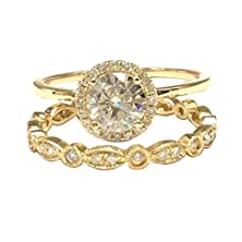 buy Round Charles & Colvard Moissanite Engagement Ring Set Art Deco Diamond Wedding 14K Yellow Gold 6.5Mm